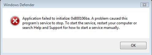 Windows Defender Application Failed to Initialize error message