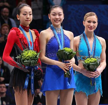 Kim Yuna, Mao Asada and Joannie Rochette at 2010 Olympics Vancouver Ceremony