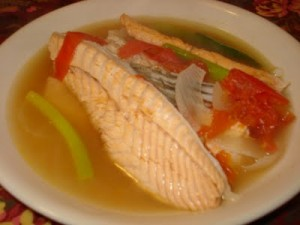 Salmon Belly in Miso Soup or Sinigang sa Miso na salmon